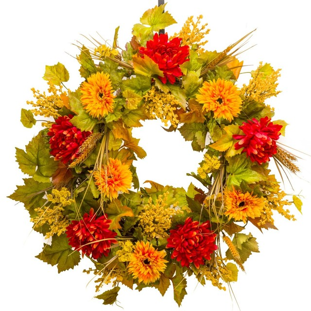 "Gerbera And Mum Everyday Wreath, 26""."