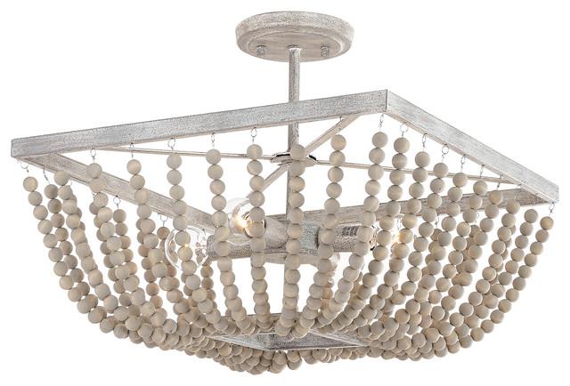 4 Light Beaded Wood Square Semi Flush Mystic Sand Beach Style Flush Mount Ceiling Lighting By 1stoplighting