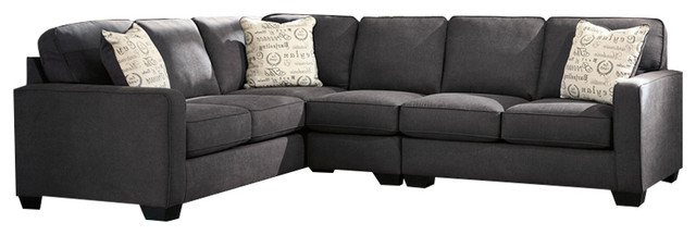 Signature Design Ashley Alenya 3-Piece Laf Sofa Sectional, Charcoal Microfiber.
