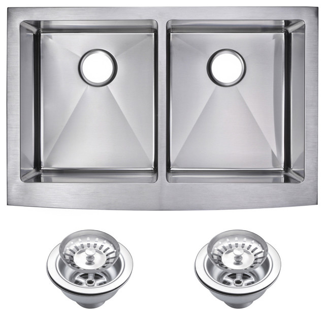 Corner Radius 50/50 Double Bowl Apron Front Sink With Drains And Strainers.