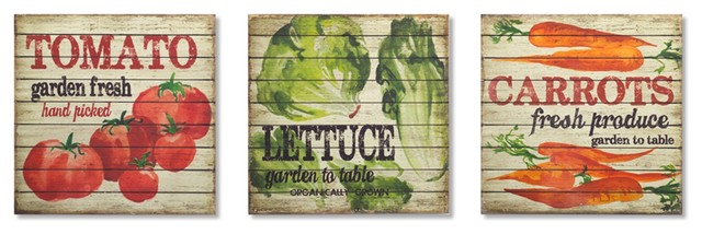 Vegetable Wall Plaque, Set Of 3, Brown/multi.