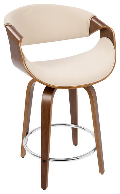 curvini midcentury modern counter stool walnut and cream stools