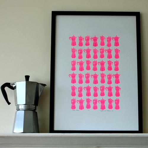Neon Pink Moka Express Print by Mengsel Design modern artwork