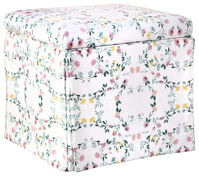 Terrific Skirted Storage Ottoman In Kaleidoscope Floral Blush Gmtry Best Dining Table And Chair Ideas Images Gmtryco