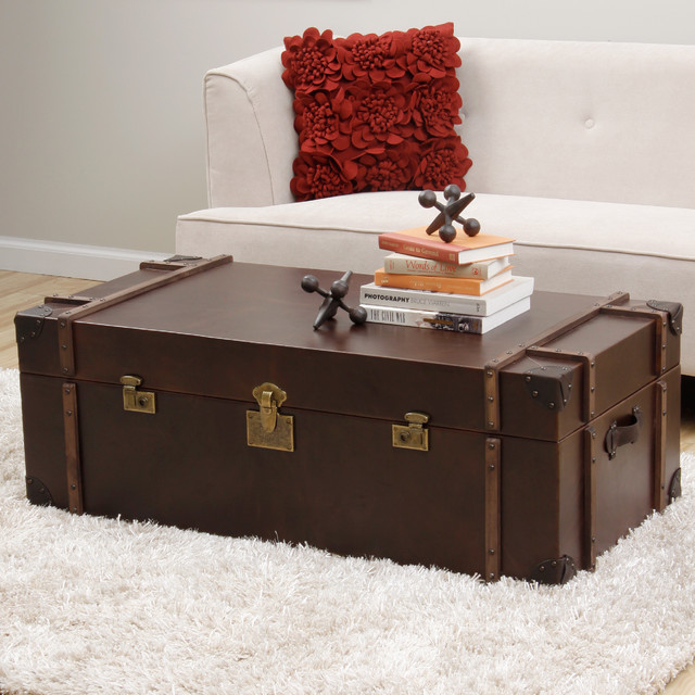 Journey Vintage Tobacco Leather Trunk Coffee Table