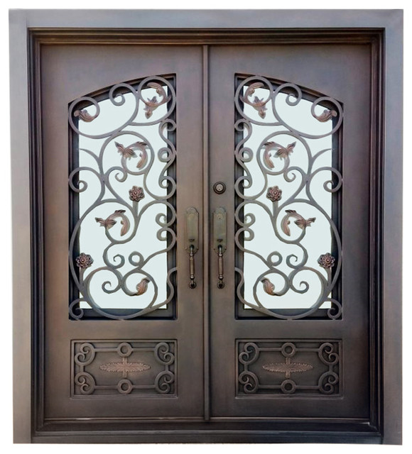 Mount Vernon Iron And Glass Front Doors, Left Inswing.