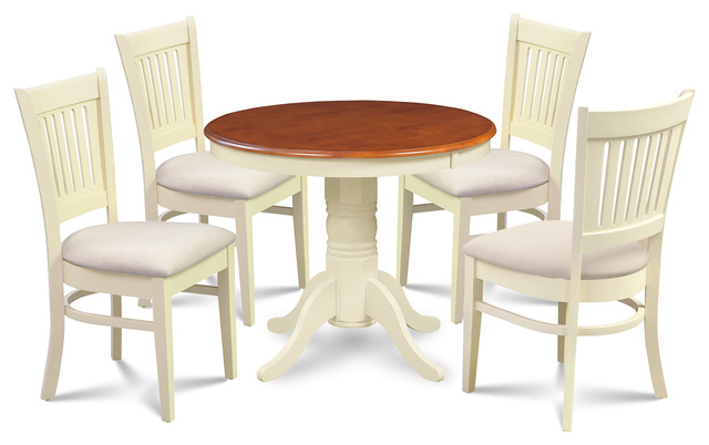 M d furniture llc brookline 5 piece round kitchen dining for Traditional kitchen table sets
