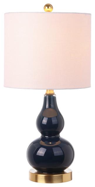 Anya 20.5 Mini Glass Table Lamp, Navy.