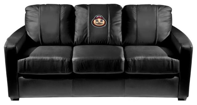 Ohio State University Collegiate Silver Sofa With Buckeyes Brutus Head Logo