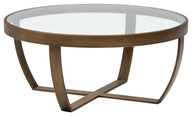 Round Glass Coffee Table With Bronze Frame