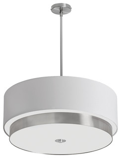 4-Light White Drum Pendant, Satin Chrome