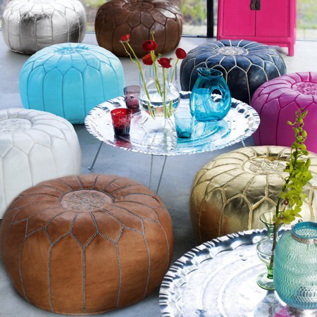Moroccan Leather Poufs mediterranean ottomans and cubes