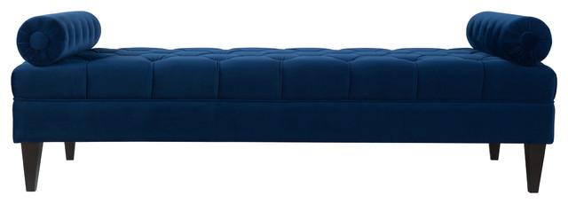 Robert Upholstered Bench, Navy Blue