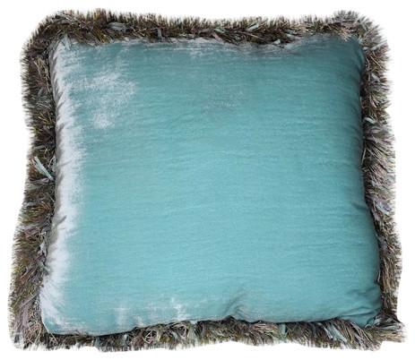 Silk Velvet Fringe Blue Throw Pillow Handmade In Usa