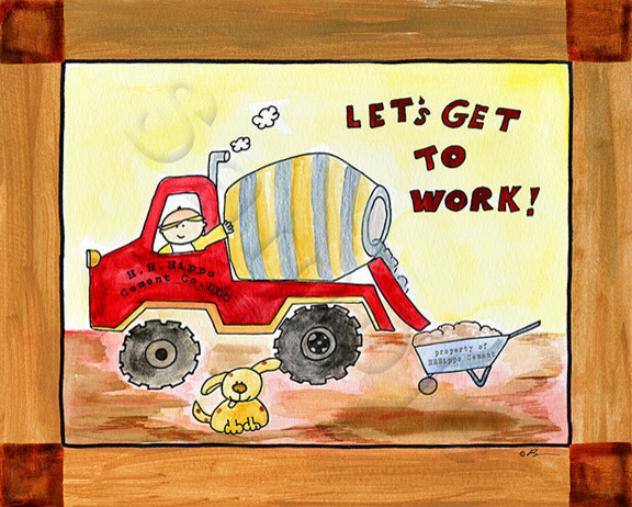 Nursery Kids Wall Decor Canvas Cement Truck Let S Go To