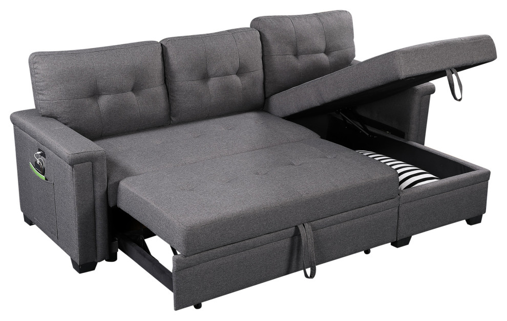 Ashlyn Sleeper Sofa with USB Charger Pocket and Reversible Storage Chaise