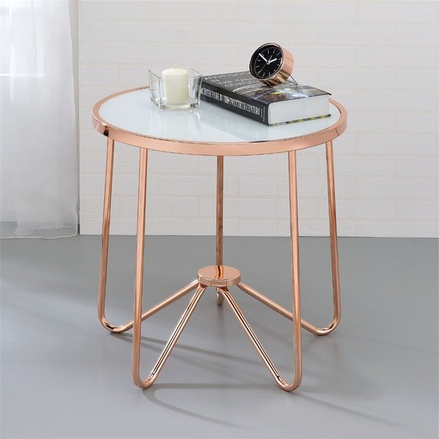 ACME Alivia End Table in Frosted Glass and Rose Gold