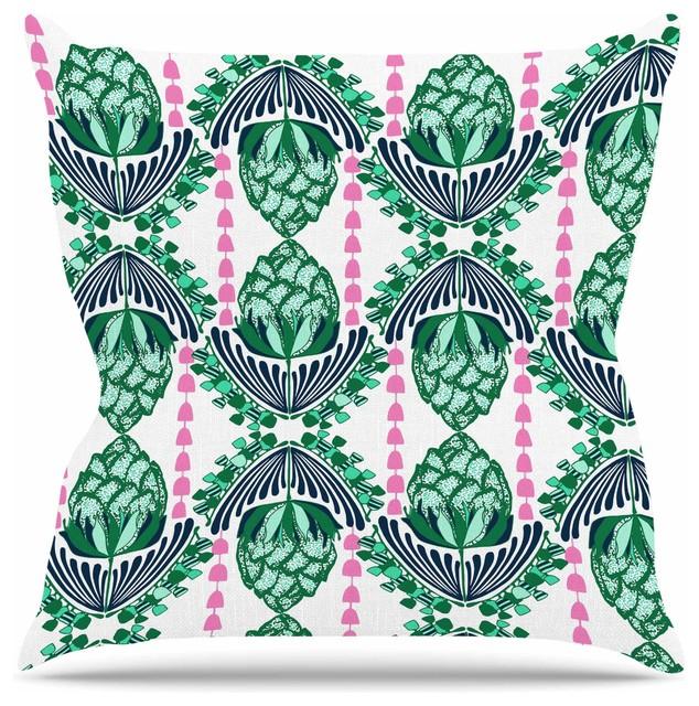 Kess InHouse Amy Reber Rainbow Geometric Blue Green Throw Pillow 18 by 18