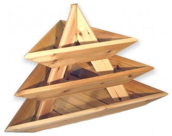 Raised Cedar Planter 3 Level Triolife Plant Pyramid