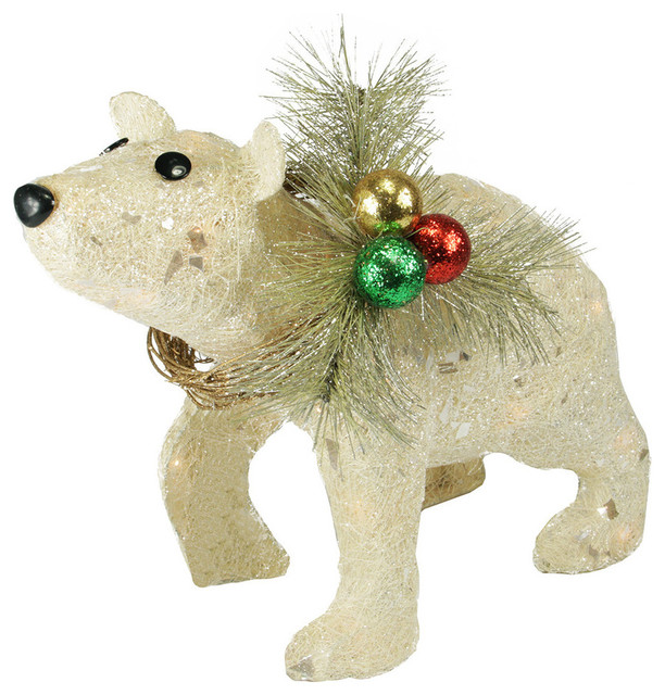 16 lighted sparkling sisal baby polar bear christmas yard art decoration