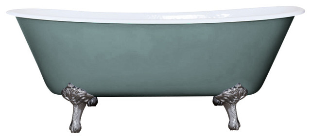 Berwick Cast Iron Tub, Oval Room Blue, With Chrome Feet And With Tap Holes.