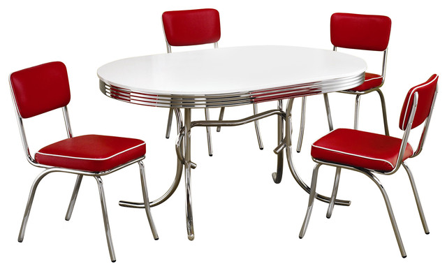 Gentil Retro 1950u0027s Oval Dining Table And Red Chair 5 Piece Set