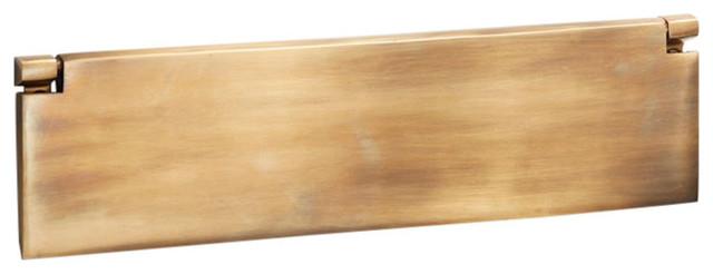 Internal Letter Box Flap, 295mm, Antique Satin Brass