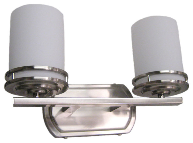 Brushed nickel 2 light bath wall fixture 14 5 x8 - 8 light bathroom fixture brushed nickel ...