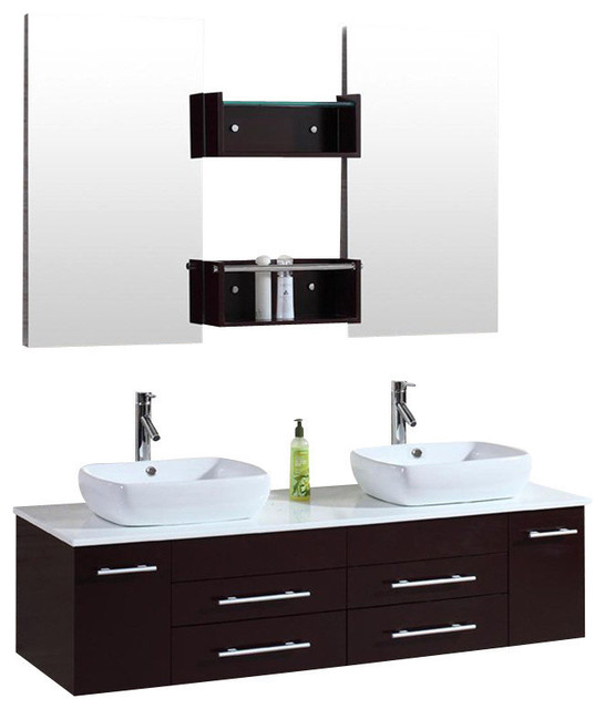 60 Wall Mount Floating Inch Double Sink Bathroom Vanity Espresso