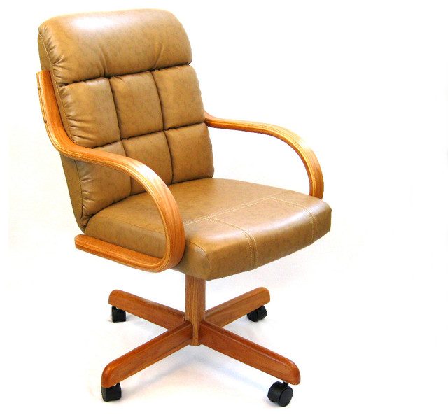 Casual Rolling Caster Dining Chair With, Leather Dining Room Chairs With Casters