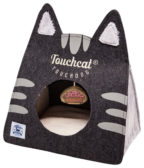 Enjoyable Touchcat Kitty Ears Travel On The Go Collapsible Folding Cat Pet Bed Black Inzonedesignstudio Interior Chair Design Inzonedesignstudiocom