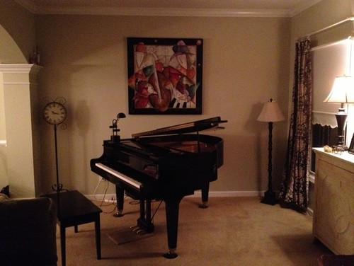 Decorating around a baby grand piano in a small living room for Piano room decor