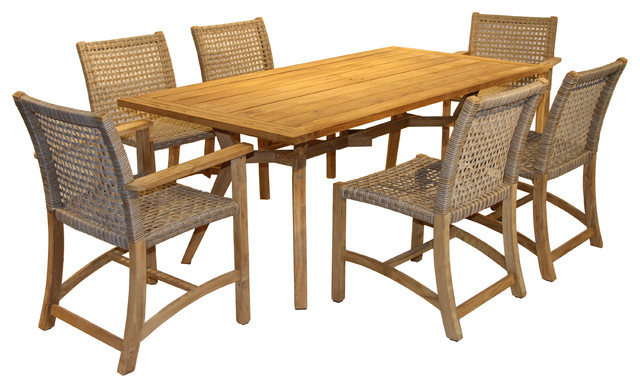 Nice 7 Piece Nautical Teak Dining Set With Teak And Wicker Chairs Tropical  Outdoor Dining