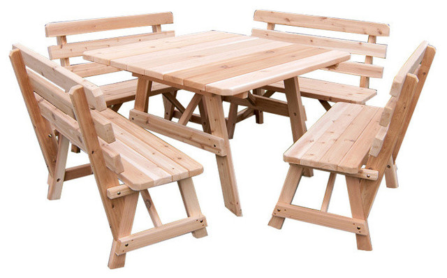 Cedar Square Picnic Table With 4 Backed Benches Craftsman Outdoor Dining Sets By Furniture Barn Usa