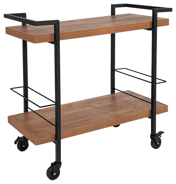 Offex Rectangular Kitchen Mobile Serving And Bar Cart With Swivel Casters Black