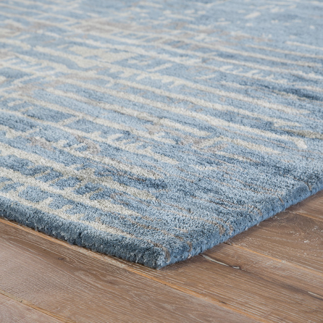 Jaipur Living Layloe Handmade Abstract Blue/gray Area Rug, 8&x27;x10&x27;.