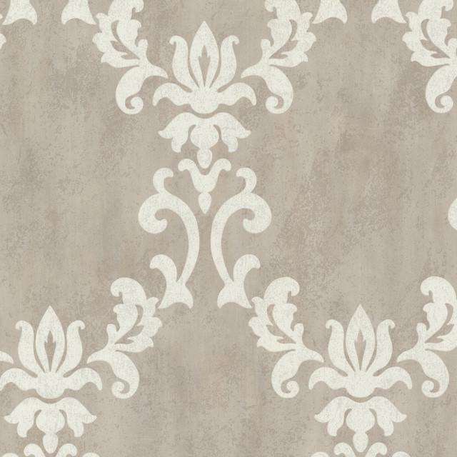 renna gray large scroll damask wallpaper bolt contemporary wallpaper - Contemporary Damask Wallpaper