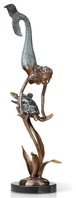 Deep Sea Pals Sculpture, Mermaid And Turtle