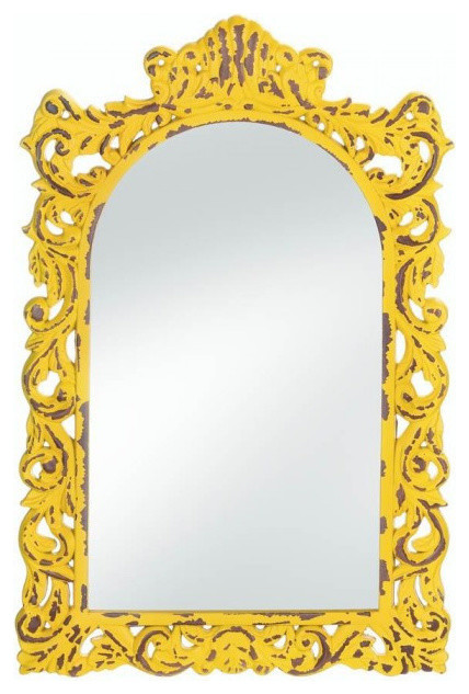 Opulent Distressed Yellow Wall Mirror.