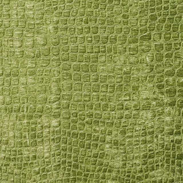 Lime Green Alligator Print Shiny Woven Velvet Upholstery Fabric By The Yard