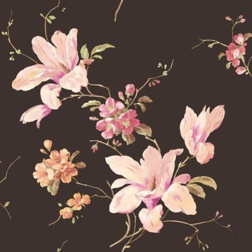 Magnolia On Black York Wallcoverings Wallpaper, Single Roll. -1
