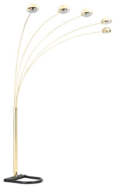 Modern Arch Floor Lamp, Brass.