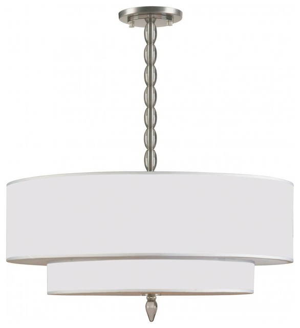 luxo five light satin nickel drum shade chandelier. Black Bedroom Furniture Sets. Home Design Ideas