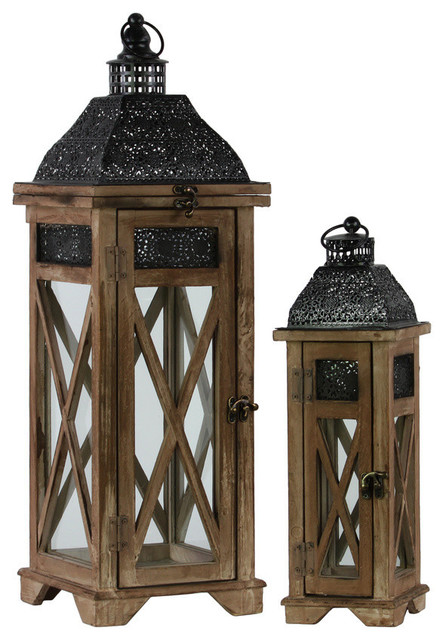 2 Piece Wood Square Lantern With Black Pierced Metal Top Set Dark Brown Mediterranean Candleholders By Gwg Outlet