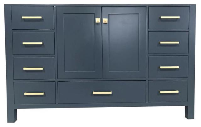 "Ariel Cambridge 54"" Single Sink Base Cabinet, Midnight Blue"