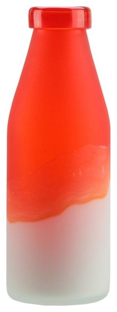 10 25 Flame Orange And Frosted White Milk Bottle Style Hand Blown Glass Vase Contemporary Vases By Northlight Seasonal
