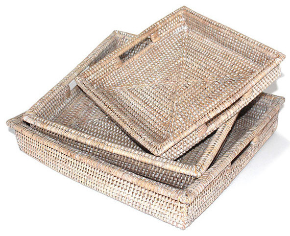 White Wash Rattan Tray Square Set Of 3 With Handles