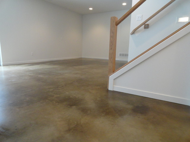 Stained Concrete Basement Floor Modern Indianapolis