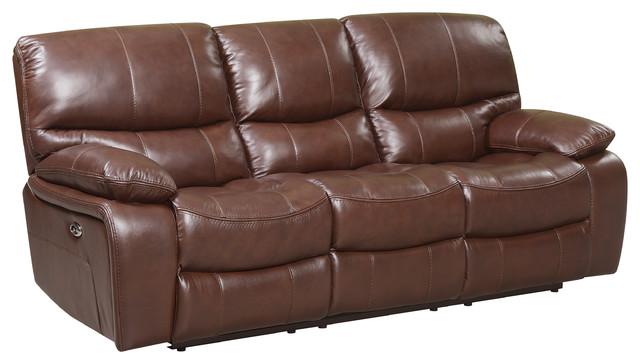 Mason Power Reclining Top Grain Italian Leather Sofa.