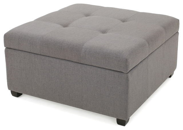 Ottomans Ellis Dark Grey Velvet Finish Storage Chest: Carlyle Dark Blue Fabric Storage Ottoman